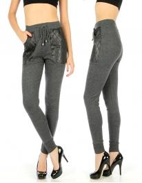 Wholesale E03 Quilted liquid pocket pantst Black/Charcoal