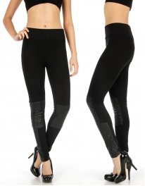 wholesale K34 Quilted faux leather ponte pants Black