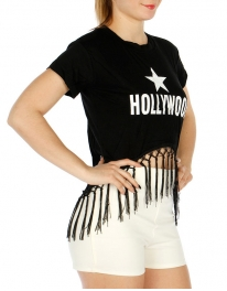 Wholesale O01A Cotton blend tasseled crop top Hollywood Black/White