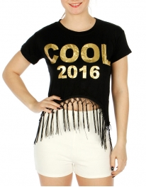 Wholesale O05A Cotton blend tasseled crop top Cool Black/Gold
