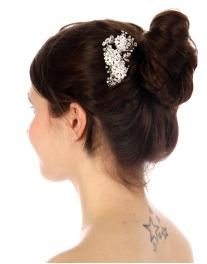 Wholesale N35 Floral rhinestone hair comb Silver