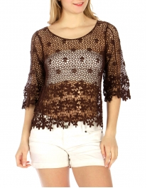 Wholesale H01 Floral cotton crochet feel top Dark Chocolate