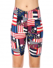 Wholesale E41 Print softbrush bermuda leggings Flag