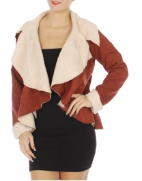 Wholesale R61E Faux suede wide lapel jacket Rust