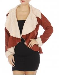 Wholesale R61E Faux suede wide lapel jacket ECRU