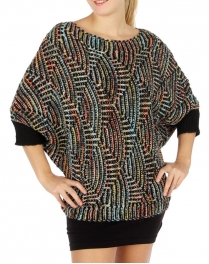 Wholesale S74 Abstract dolman sweater Black fashionunic