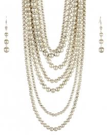 wholesale Long chunky pearl necklace set SB fashionunic