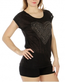 Wholesale M23 Cotton blend heart stud top Black