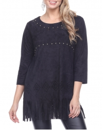 Wholesale G32C Fringe trim faux suede top BLACK