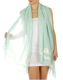 Wholesale H14 Floral embroidered scarf Mint