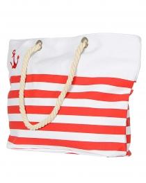 Wholesale T22B Cotton Blend Striped Beach Bag Navy