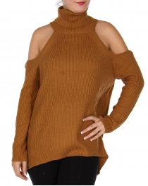 Wholesale Q68A Cold shoulder turtleneck sweater Camel