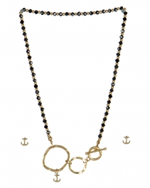 wholesale Anchor studs on loops necklace set WG/HMT fashionunic