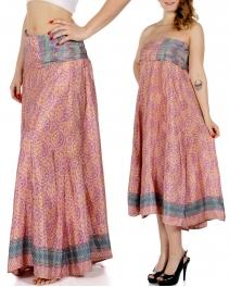 Wholesale P33 Floral Print w/ Chevron Stripes Sari Dress/Skirt BD