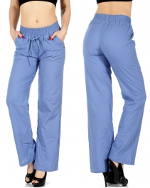 Wholesale K34A Lienen blend woven pants w/ drawsting Denim Blue