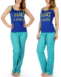 Wholesale K85 I WAKE UP AWESOME tank & PJ pants set Blue