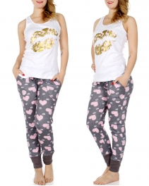 Wholesale K51B Lip print tank & jogger PJ pants set White