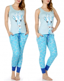 Wholesale Q50A Giraffe print tank & jogger PJ pants set Blue