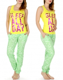 Wholesale T32B SLEEP ALL DAY tank & jogger PJ pants set Yellow