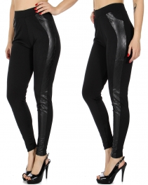 Wholesale A03E Scuba leggings w/ quilted pleather tux stripe insert