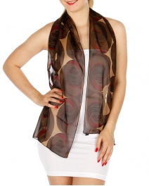 Wholesale P16B Swirl Abstract Light Scarf RD/BR