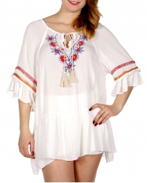 Wholesale G34B Flower & lurex embroidery flare hem tunic top