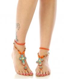 wholesale N46 Beaded cross anklet Orange fashionunic