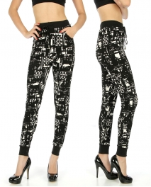Wholesale C36 Abstract black and white pants fashionunic