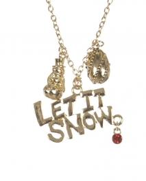 Wholesale WA00 LET IT SNOW Christmas pendant necklace GD