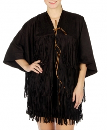 wholesale Fringed faux suede cape Black fashionunic