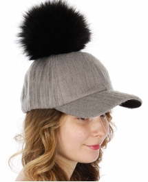 Wholesale R08E Knit baseball cap w/ faux fur pompom BKGRY