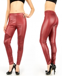 Wholesale D41 Studded rhombus liquid leggings Burgundy
