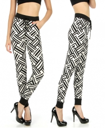 Wholesale C36 Black and white striped pants fashionunic