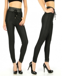 Wholesale E03 Faux leather trim legging pants Black