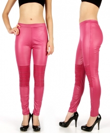 Wholesale D41 Striped studded knee liquid leggings Fuchsia