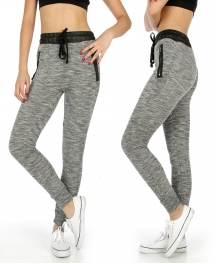 Wholesale K38 Faux leather zip marled jogger pants BK