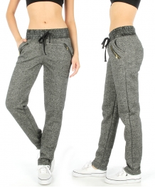 Wholesale L11 Faux leather waistband jogger pants Gray