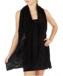 wholesale E13 Open knit patterned tube scarf BK