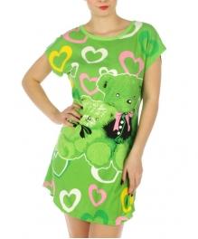 wholesale K22 Love Bear cotton sleep shirt Green