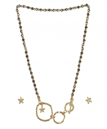 wholesale Star studs on loops necklace set WG/RH fashionunic