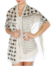 Wholesale J00D Hound tooth Dots and Chevron Scarf BK