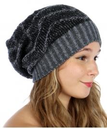 wholesale G06 Zigzag knit long beanie hat Black