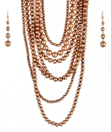 wholesale Long chunky pearl necklace set COP fashionunic