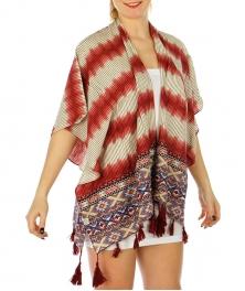 Wholesale P00A Aztec Pattern W/ Tassel Ruana Scarf RD