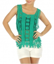 wholesale N10 Open knit cotton crochet top BK