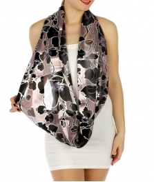 wholesale H45 Large buds infinity scarf Black