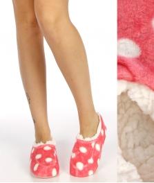 Wholesale WA00 Polka dot plush fleece moccasin slippers Pink
