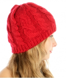 wholesale F20 Cable knit Mohair Beanie Red fashionunic