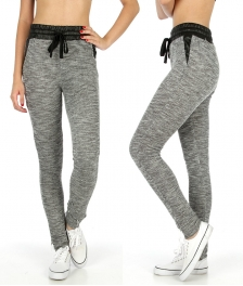 Wholesale K75 Faux leather trim marled jogger pants BK