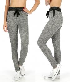 Wholesale K75 Faux leather trim marled jogger pants BK